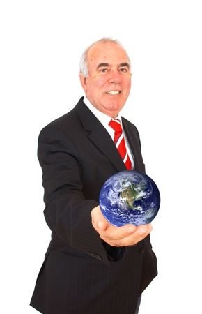 happy businessman with globe on white background Stock Photo - 955589