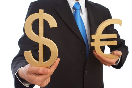 dolar: Somos hombre de negocios la celebraci�n de d�lar y el euro signos en blanco, someras DOF  Foto de archivo