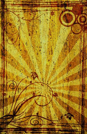 grunge sunbeam and ornament backgound for your designs photo