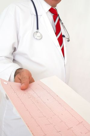 nursing record: doctor giving a printout of a monitor report, shallow dof