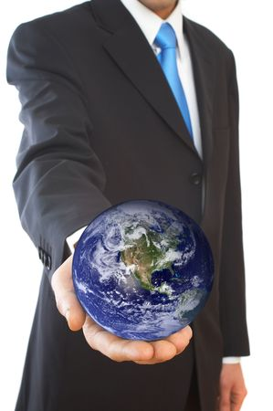 businessman with a globe on white