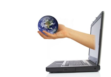 online internet presence: hand with globe coming from laptop screen, space for messages.