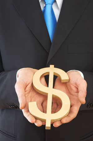 dolar: hombre de negocios la celebraci�n de signo de d�lar EE.UU. con color