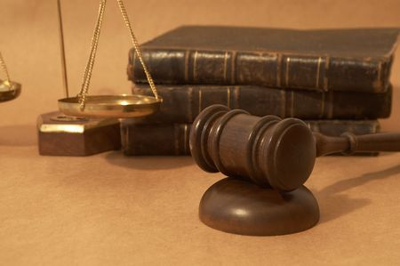 adjournment: law concept with gavel, balance of scales and books Stock Photo