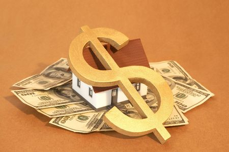 real estate concept with US dollars and dollar sign photo
