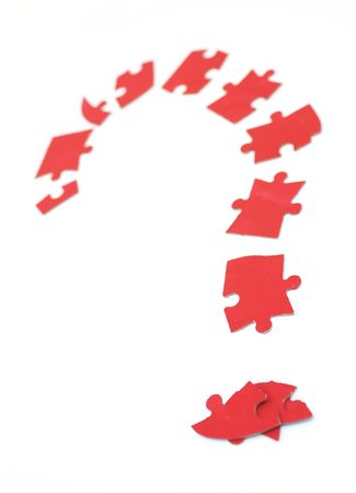 lots of puzzle pieces formed a question mark on white Stock Photo - 1364775
