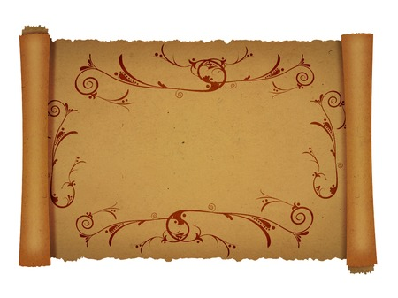 scroll up: old scroll papyrus background for your messages and designs with ornament border Stock Photo