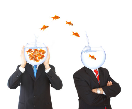 teamwork concept with flying goldfishes from one to another photo