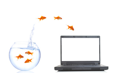 goldfishes jumping from fish bowl to the laptop photo