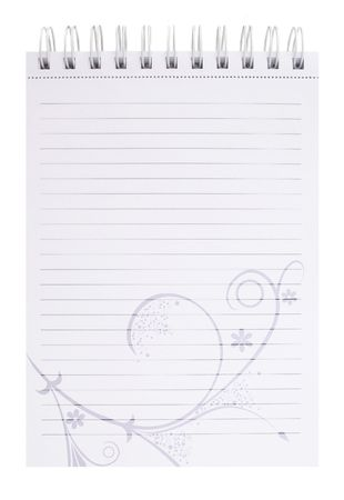 notepad with ornaments on white background for your messages photo