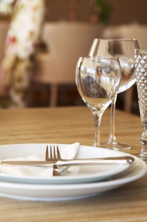 lux: restaurant service table with empty plates and glasses