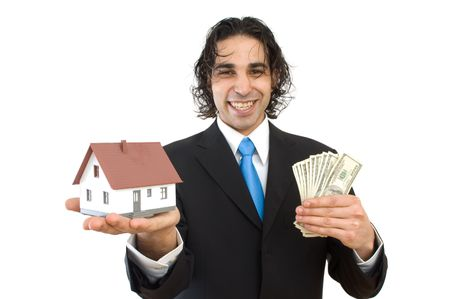 happy businessman with a house and US dollars for real estate concept photo