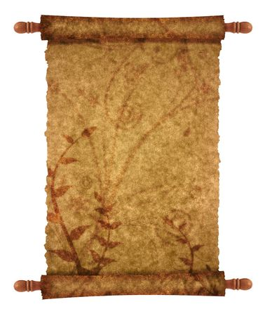 old scroll papyrus for your messages and designs with ornaments photo