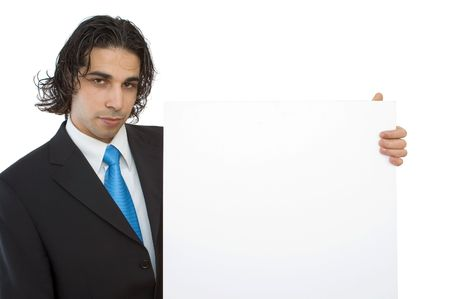 young confident businessman with blank board background Stock Photo - 2147794