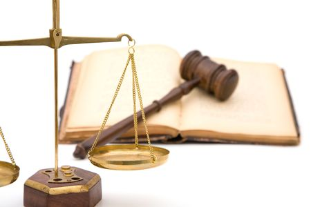 adjourned: legal concept with gavel, scales of justice and book