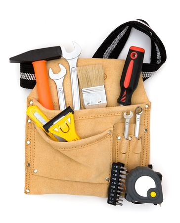 tool bag close up with full of construction equipments photo