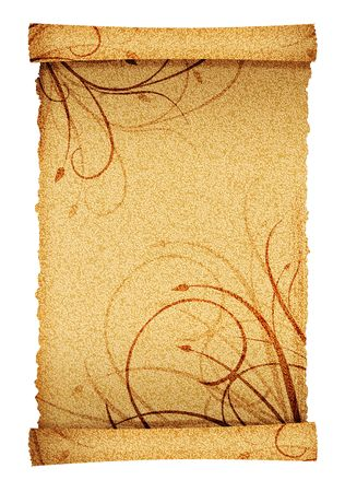 grunge and old scroll paper background with space for messages photo