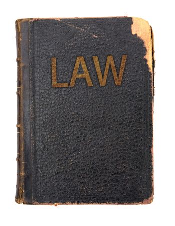 judicial proceeding: law book close up on white background