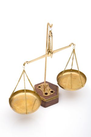 scales of justice close up on white background, shallow dof Stock Photo - 2180561
