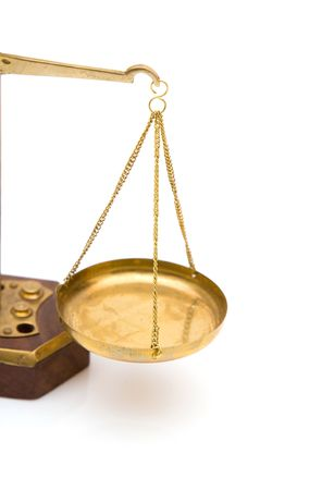 adjourned: legal concept with scales of justice on white background