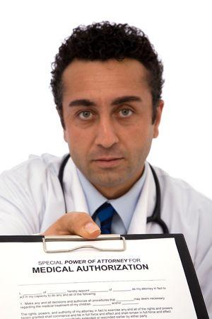 authorization: medical doctor holding authorization form, shallow dof