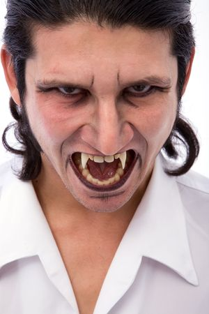 male vampire close up on white background Stock Photo