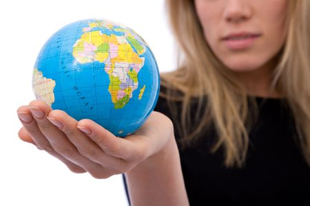 online internet presence: global business concept with a globe and businesswoman