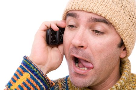 telltale: man talking on the cell phone with a liar pose Stock Photo