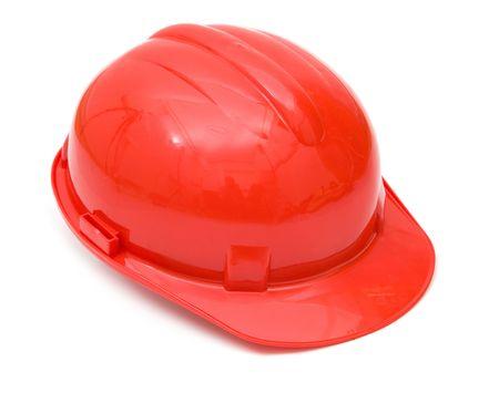 casco rojo: casco de protecci�n rojos aislados sobre fondo blanco