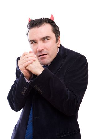 tyrant: evil businessman planning some bad things to do  Stock Photo