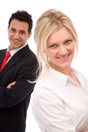 co worker: teamwork concept with happy business team over white Stock Photo