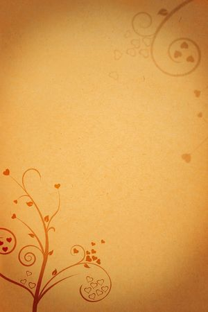 old paper background texture with heart shapes and flower ornaments photo