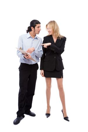 co worker: beautiful businesswoman talking with funny businessman on white