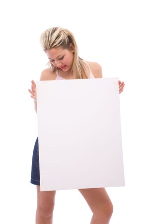beautiful woman at presentation with blank board for your messages photo