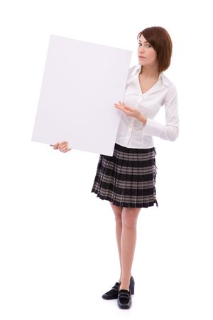 beautiful businesswoman with a blank board for your messages photo