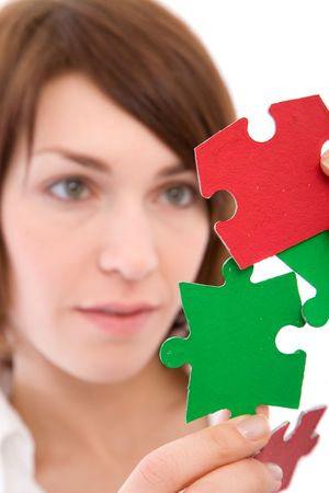 business problem and solution concept with colorful puzzles Stock Photo - 2507642