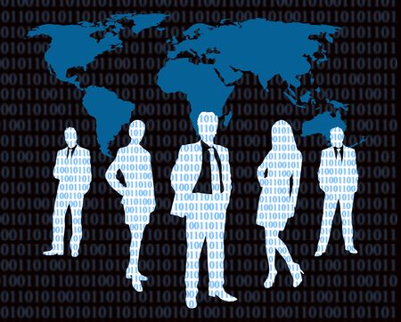 cyber business concept with business people and world map photo