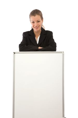 business concept with businesswoman and blank board for your messages photo