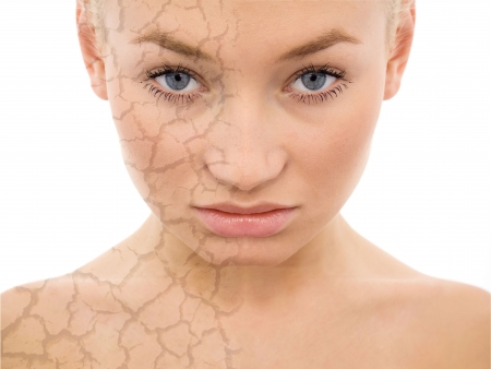 portrait of a beautiful woman with face care concept Stock Photo