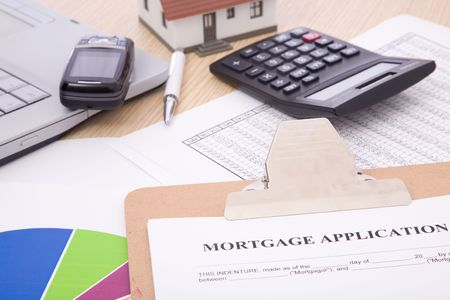 business concept with mortgage application form