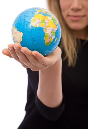 online internet presence: businesswoman holding a mini globe for communications and business concepts