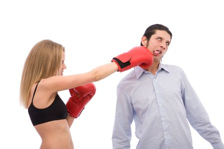 young girl punching a man on white background photo