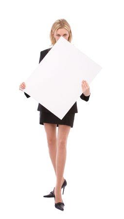 beautiful businesswoman holding a blank board for your messages photo