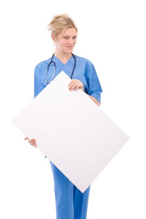 beautiful doctor with blank message board on white photo