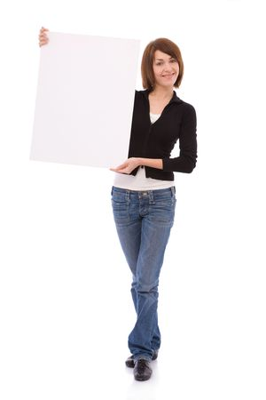 young and beautiful woman holding a blank board for your messages photo