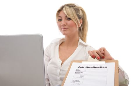 businesswoman with a job application form and laptop photo