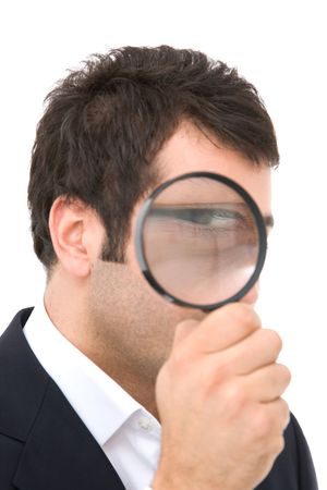 business search concept with businessman and magnify glass photo