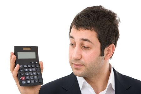 businessman with modern calculator on white background photo