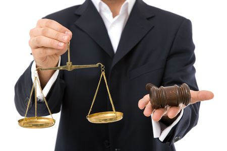 judicial proceeding: law concept in business with gavel and scales of justice