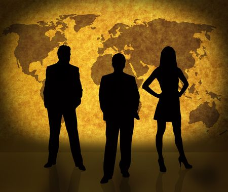 business people silhouettes and world map on paper texture. Map used to trace http:www.lib.utexas.edumapsworld_mapsworld_pol02.jpg Their copyright statement here: http:www.lib.utexas.edumapsfaq.html#3.html Stock Photo